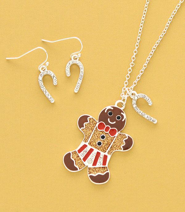 New Arrival :: Wholesale Gingerbread Man Necklace Set