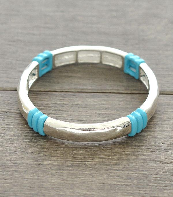 New Arrival :: Wholesale Turquoise Trim Stackable Bracelet