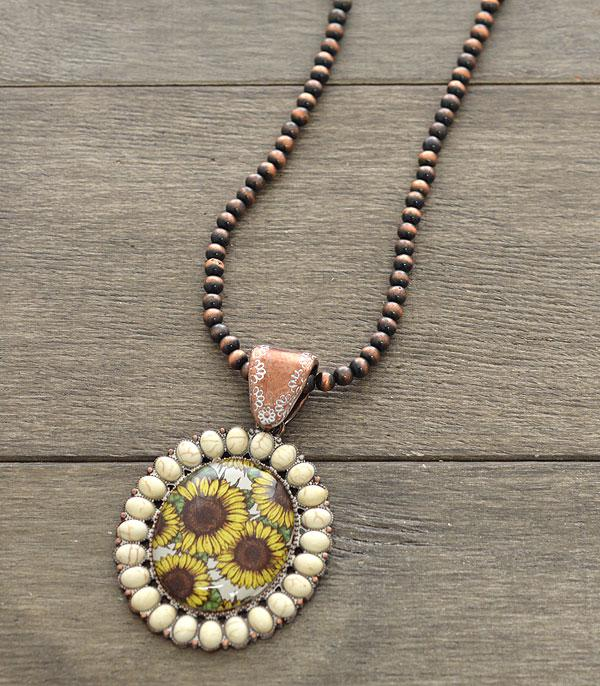 New Arrival :: Wholesale Sunflower Stone Pendant Navajo Necklace