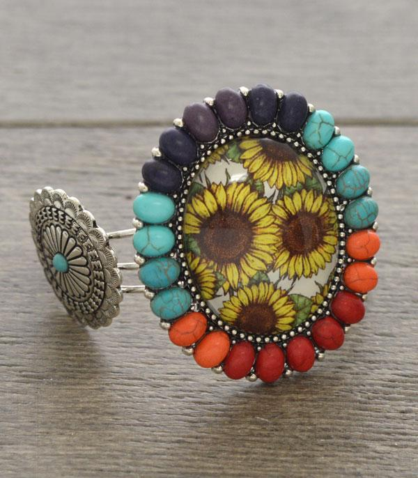 New Arrival :: Wholesale Sunflower Western Style Cuff Bracelet