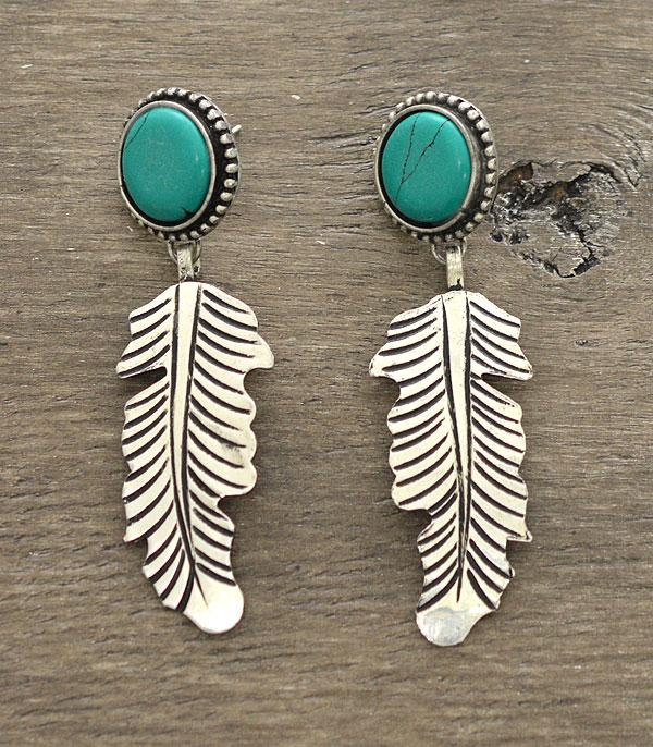 New Arrival :: Wholesale Western Style Turquoise Feather Earrings
