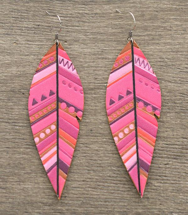 New Arrival :: Wholesale Leather Feather Earrings