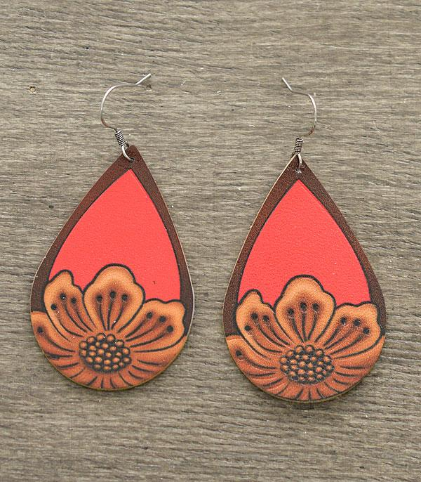 New Arrival :: Wholesale Leather Teardrop Earrings