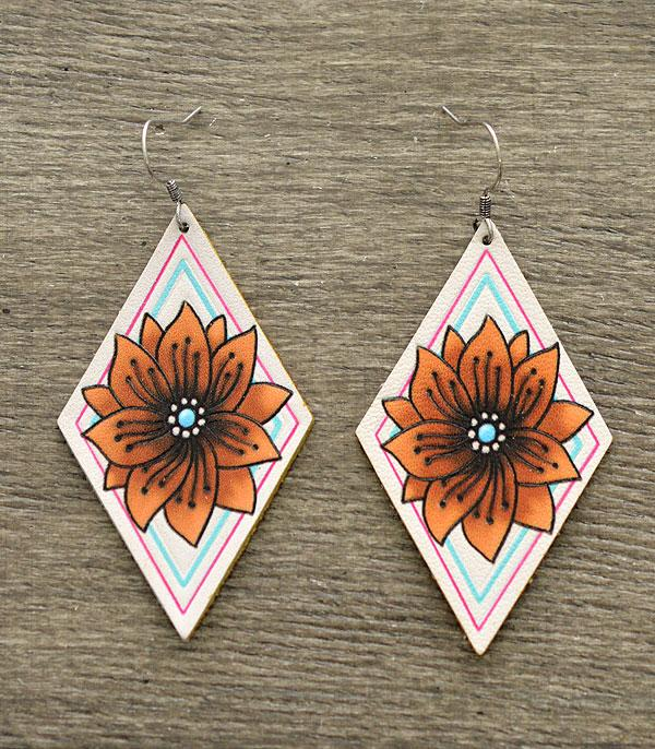 New Arrival :: Wholesale Leather Floral Diamond Shape Earrings