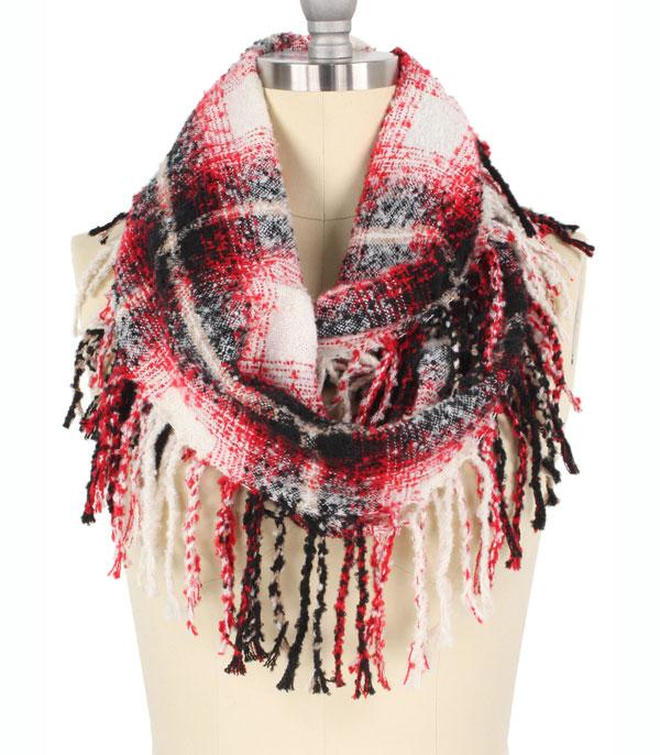 New Arrival :: Wholesale Plaid Fringed Infinity Scarf