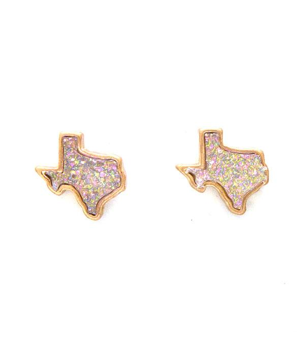 New Arrival :: Wholesale Druzy Texas Map Earrings