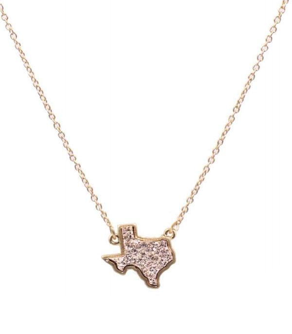 New Arrival :: Wholesale Druzy Texas Map Necklace
