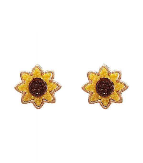 New Arrival :: Wholesale Druzy Sunflower Earrings