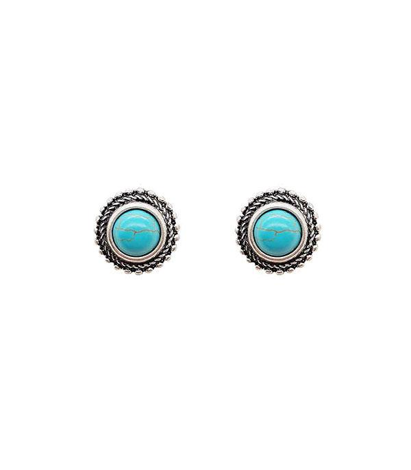 <font color=Turquoise>TURQUOISE JEWELRY</font> :: Wholesale Turquoise Round Stud Earrings