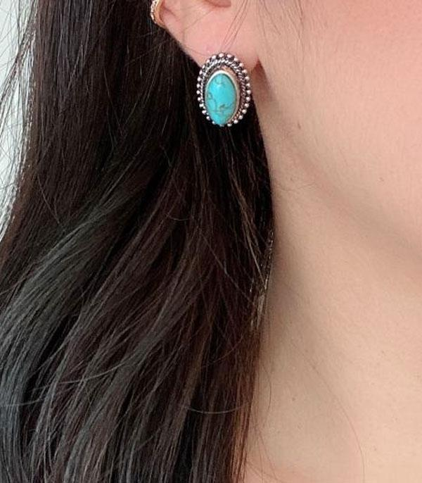 <font color=Turquoise>TURQUOISE JEWELRY</font> :: Wholesale Turquoise Oval Stud Earrings