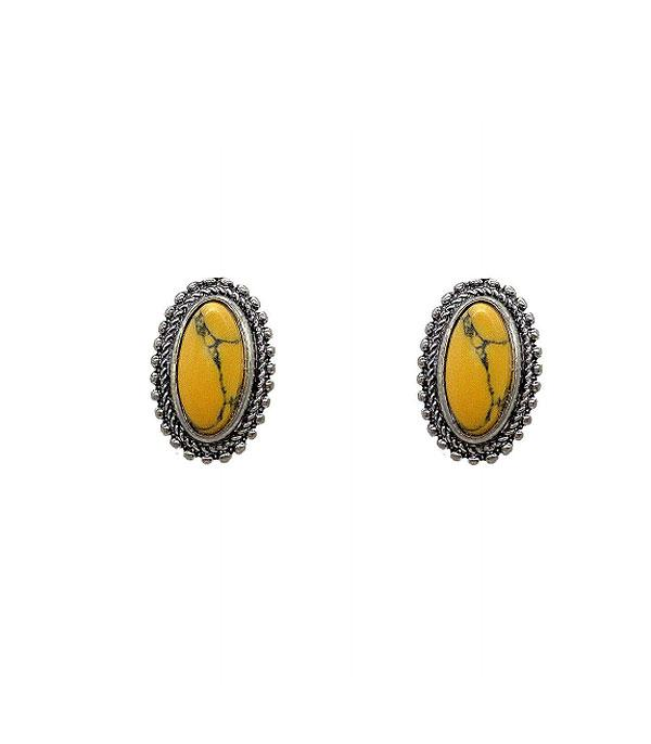 New Arrival :: Wholesale Turquoise Oval Stud Earrings