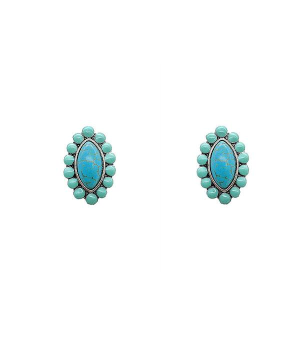 New Arrival :: Wholesale Turquoise Stone Post Earrings