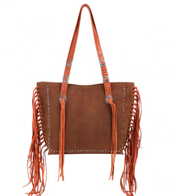 New Arrival :: Wholesale Western Real Leather Fringed Tote