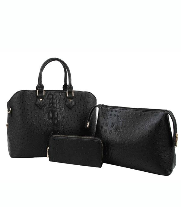 New Arrival :: Wholesale 3PC Set Faux Ostrich Tote Wallet