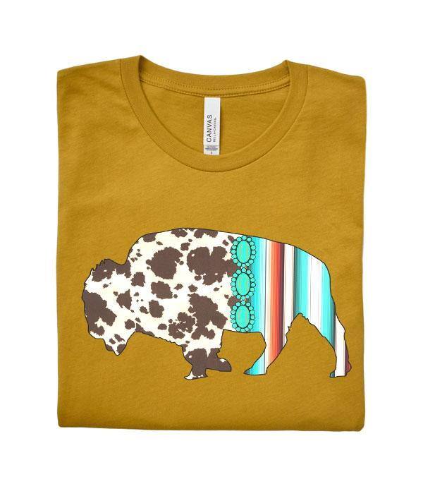 New Arrival :: Wholesale Turquoise Serape Buffalo Graphic Tshirt