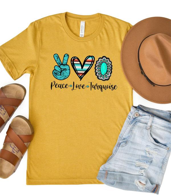 New Arrival :: Wholesale Peace Love Turquoise Graphic Tshirt
