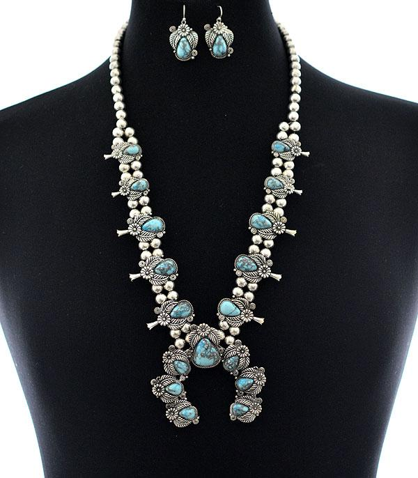 <font color=Turquoise>TURQUOISE JEWELRY</font> :: Wholesale Turquoise Squash Blossom Necklace Set