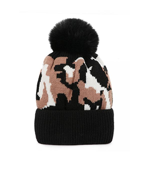 New Arrival :: Wholesale Camo Print Knit Pom Beanie