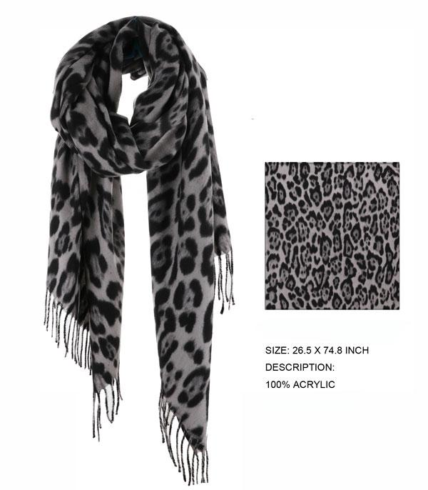 New Arrival :: Wholesale Leopard Print Fringed Scarf