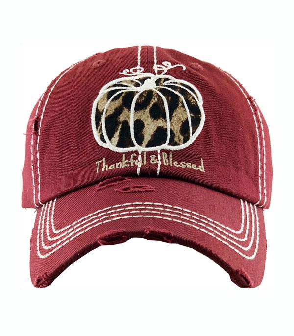 New Arrival :: Wholesale Thankful Blessed Leopard Pumpkin Ballcap