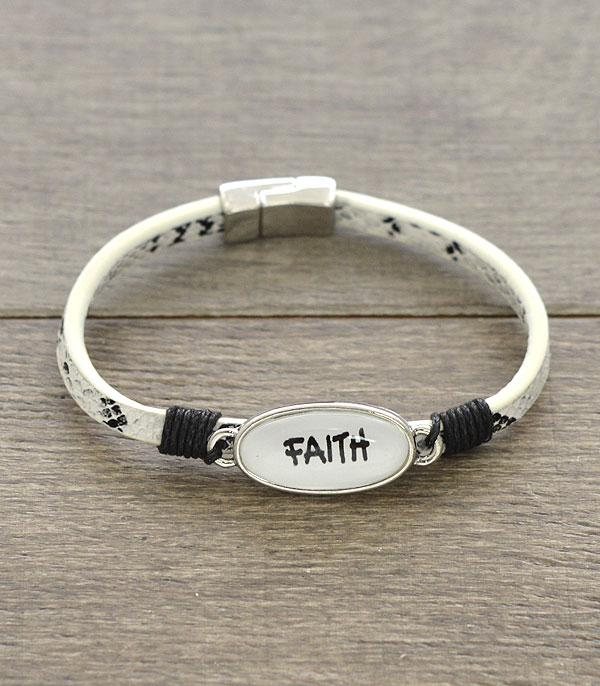 New Arrival :: Wholesale Faith Leather Magnetic Bracelet