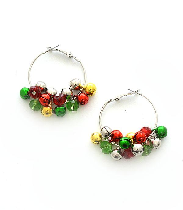 New Arrival :: Wholesale Christmas Jingle Bead Hoop Earrings