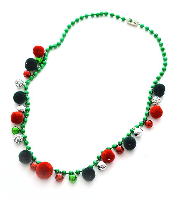 New Arrival :: Wholesale Christmas Jingle Pom Bead Necklace