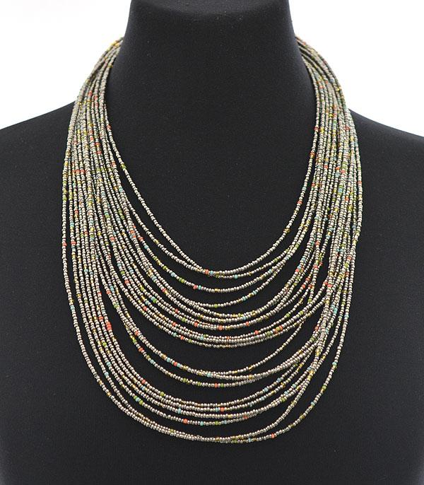 New Arrival :: Wholesale Layered Seed Bead Necklace