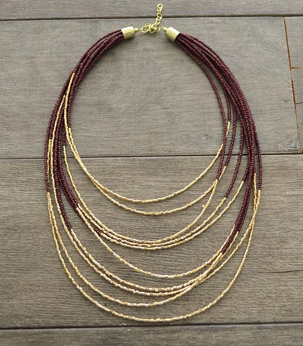 New Arrival :: Wholesale Seed Bead Layered Necklace