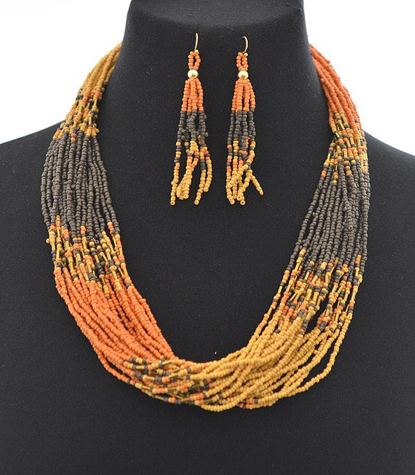 New Arrival :: Wholesale Multi Strand Seed Bead Necklace Set
