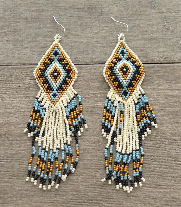 New Arrival :: Wholesale Aztec Seed Bead Tassel Earrings