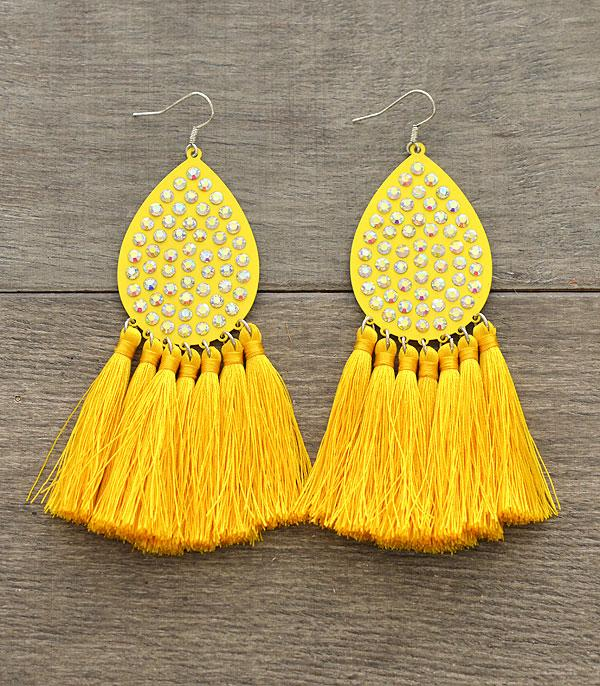 New Arrival :: Wholesale Rhinestone Tassel Earrings
