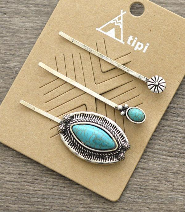 New Arrival :: Wholesale Tipi Turquoise Hair Bobby Pin Set