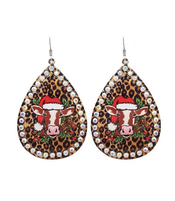 New Arrival :: Wholesale Christmas Cow Teardrop Earrings