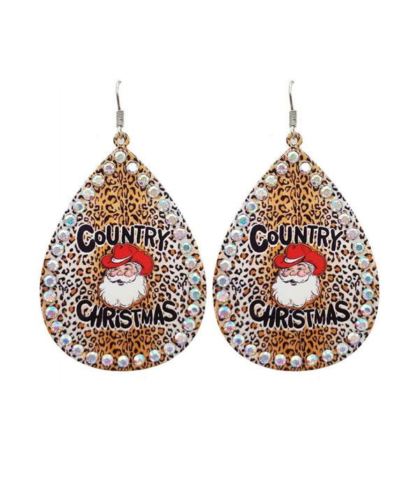 New Arrival :: Wholesale Country Christmas Leopard Earrings