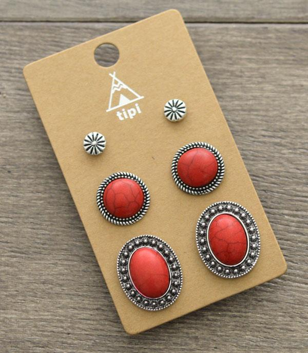 New Arrival :: Wholesale Tipi 3PC Set Turquoise Earrings