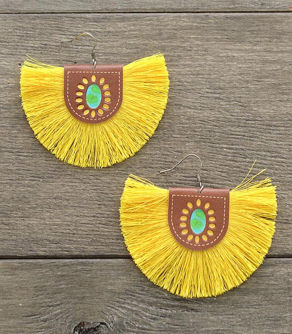 New Arrival :: Wholesale Leather Tassel Fan Earrings