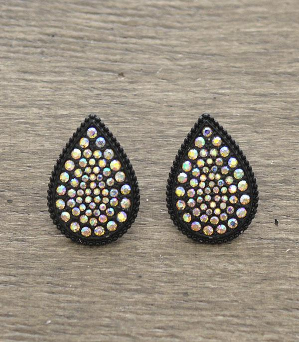 New Arrival :: Wholesale Teardrop Rhinestone Post Earrings