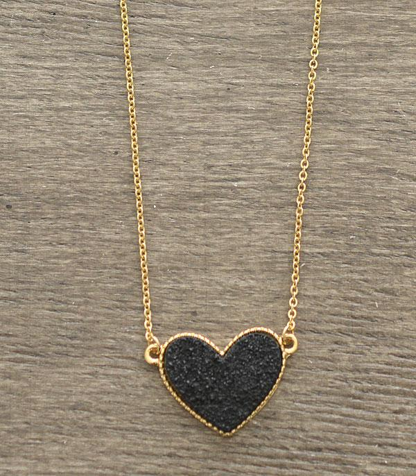 New Arrival :: Wholesale Druzy Heart Necklace