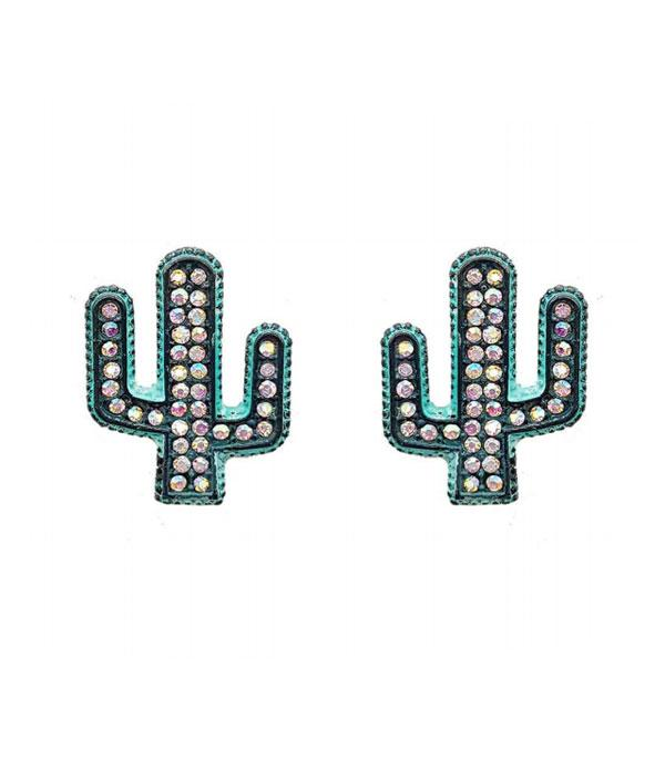 New Arrival :: Wholesale Rhinestone Cactus Stud Earrings