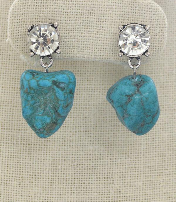 New Arrival :: Wholesale Turquoise Stone Dangle Earrings