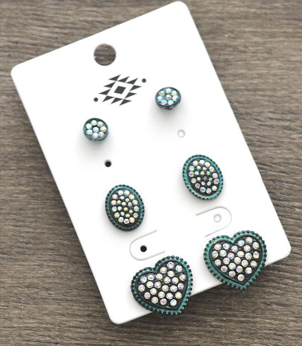 New Arrival :: Wholesale 3PC Set Rhinestone Heart Earrings