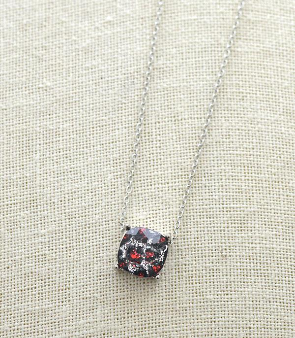 New Arrival :: Wholesale Leopard Glitter Cushion Cut Necklace