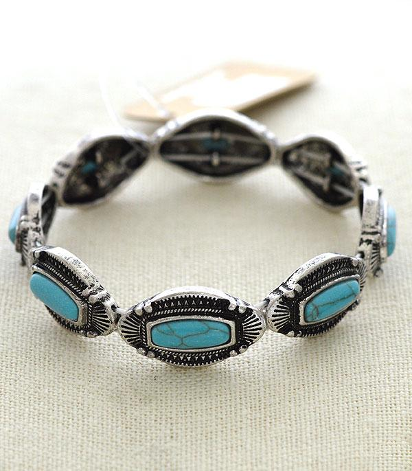New Arrival :: Wholesale Tipi Turquoise Western Stretch Bracelet
