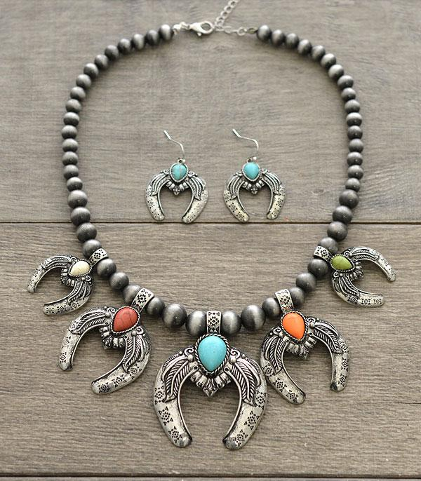 New Arrival :: Wholesale Squash Blossom Stone Charm Necklace Set