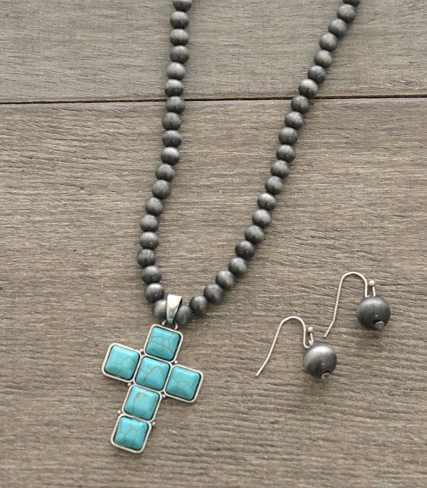 New Arrival :: Wholesale Turquoise Cross Navajo Bead Necklace