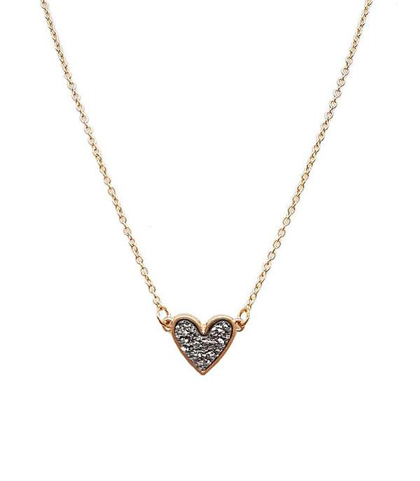 New Arrival :: Wholesale Druzy Heart Pendant Necklace