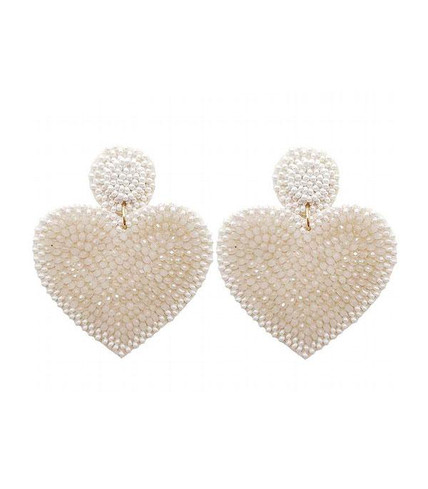 New Arrival :: Wholesale Beaded Heart Dangle Earrings
