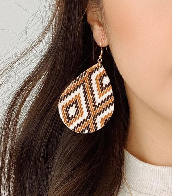 New Arrival :: Wholesale Genuine Leather Aztec Print Earrings
