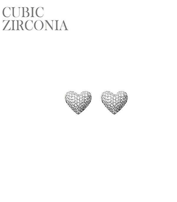 New Arrival :: Wholesale Mini Heart Pave Stud Earrings